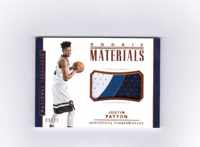 2018 Justin Patton National Treasures Rookie Materials /25 Relic