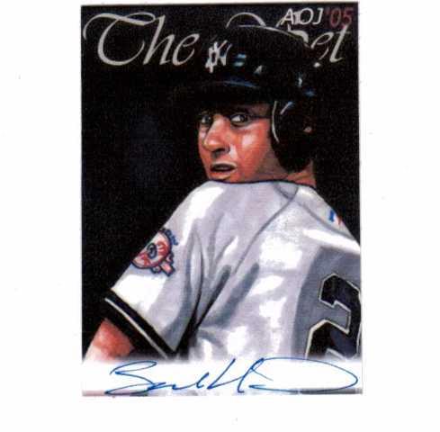 Derek Jeter 2005 AOJ Lithocard Signed Artist Sketch MLB Jonathan D. Gordon