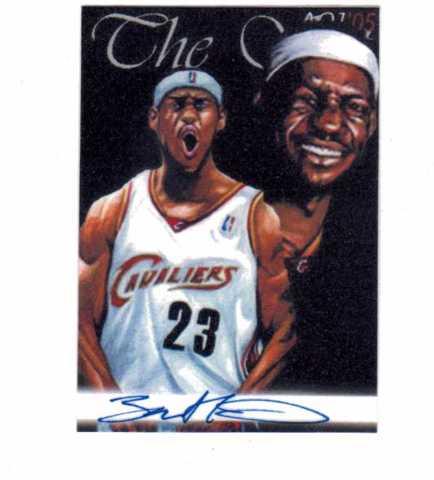 LeBron James 2005 AOJ Lithocard Signed Artist Sketch NBA Jonathan D. Gordon