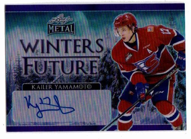 Kailer Yamamoto 2016-17 Leaf Metal Winters Future Purple Prismatic Autograph /10