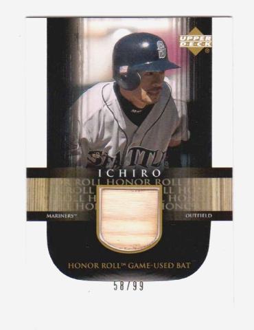 Ichiro Suzuki 2002 Upper Deck Honor Roll Game Used Bat #B11 Relic /99 Mariners (x)