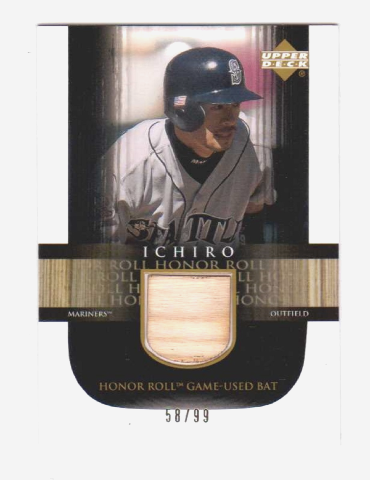 Ichiro Suzuki 2002 Upper Deck Honor Roll Game Used Bat #B11 Relic /99 Mariners