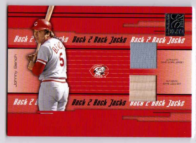 Johnny Bench Adam Dunn 2005 Donruss Elite Back 2 Jacks Combo Jersey Bat Relic/25