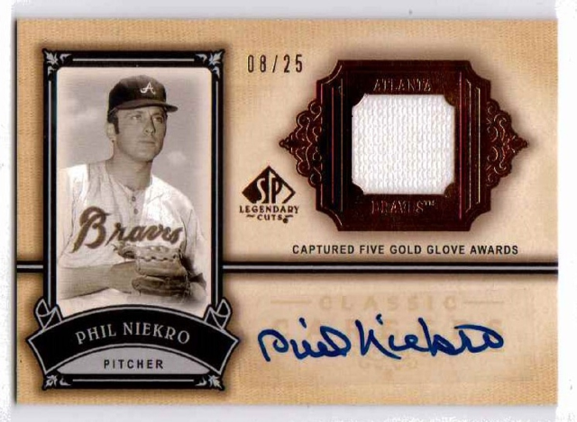 Phil Niekro 2005 SP Legendary Cuts Autograph Jersey Patch Relic /25 auto Braves