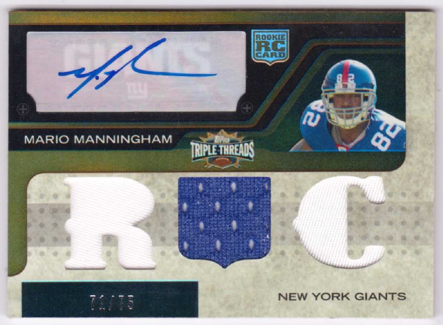 Mario Manningham 2008 Topps Triple Threads Sepia Rookie Autograph Relic RC /75