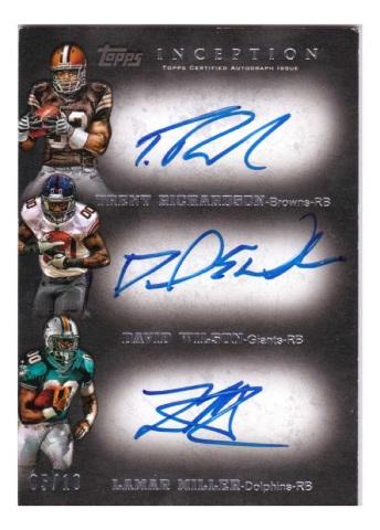 Trent Richardson David Wilson Lamar Miller 2012 Inception Triple Autograph RC/10