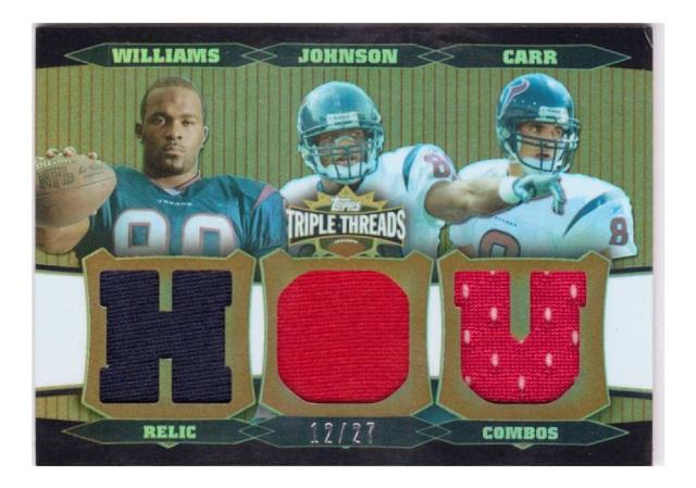 David Carr Andre Johnson Mario Williams 2006 Triple Threads Sepia #72 Relic /27