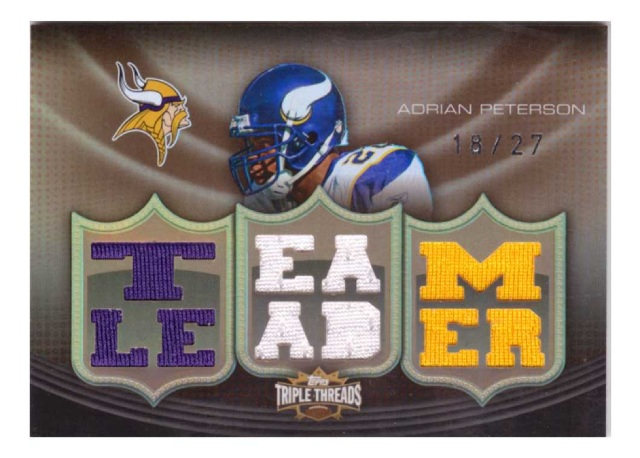 Adrian Peterson 2010 Topps Triple Threads Sepia Patch Relic #124 team leader /27