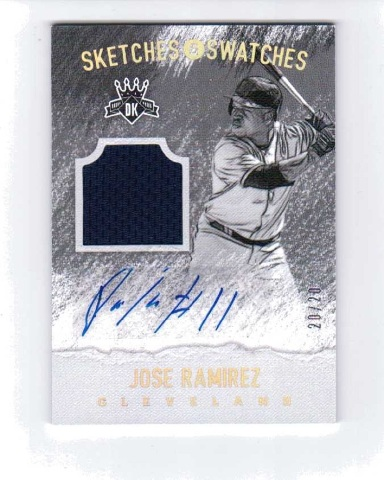 Jose Ramirez 2017 Diamond Kings Sketches Swatches Holo Gold Autograph SSJR 20/20