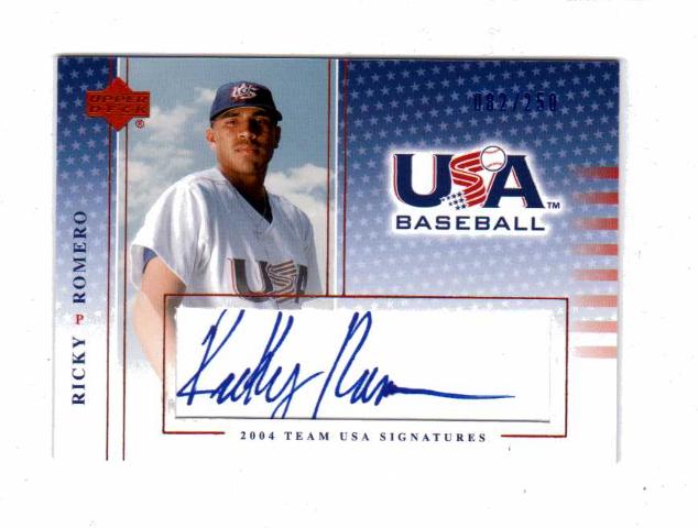 Ricky Romero 2004-05 UD USA Baseball National Team Signatures Blue #36 Auto /250