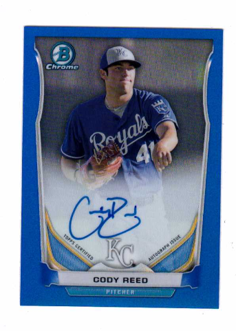 Cody Reed 2014 Bowman Chrome Prospect Autograph Blue Refractor #BCAPCR auto /150