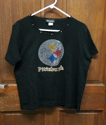 Get Lucky Pittsburgh Steelers Beaded Black T-Shirt Women's Size L Large