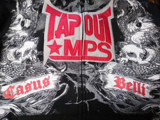Tapout MPS Black Casus Belli Full Zip Hoodie Sweatshirt Jacket Size L MMA UFC