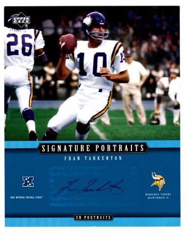 2005 Upper Deck Signature Portraits 8x10 Auto Card Fran Tarkenton Vikings