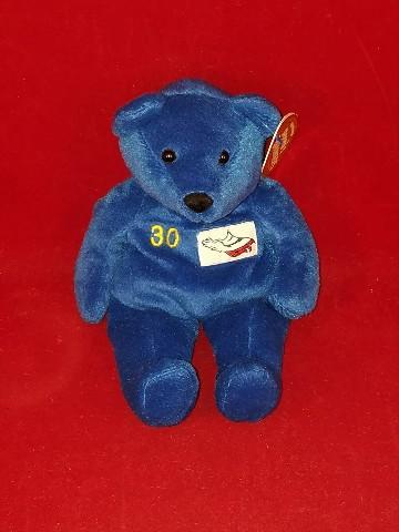 Salvino's Bammers Terrell Davis #30 Blue Beanie Plush Bear Upside Down Patch