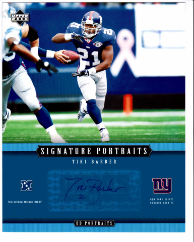 2005 Upper Deck Signature Portraits 8x10 Auto Card Tiki Barber New York Giants