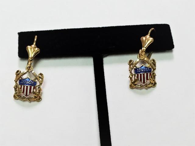 USN US Navy Shield & Crossed Anchors Dangle Earrings Gold Tone