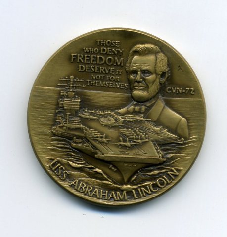 """USS Abraham Lincoln CVN-72 1.75"""" Challenge Coin """"Those Who Deny Freedom"""""""