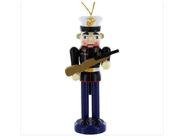 "Vanguard MARINE CORPS NUTCRACKER WITH PORT ARMS (Ornament)(4-3/4"" Tall)"