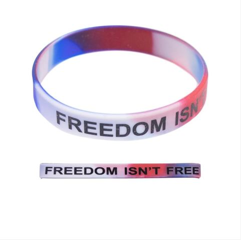 """Vanguard BRACELET: RED/WHITE/BLUE SILICONE PRINTED IN BLACK """"FREEDOM ISN'T FREE"""""""