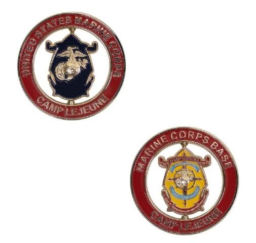 "Vanguard MARINE CORPS SPINNER COIN: 2"" MARINE CORPS BASE CAMP LEJEUNE"