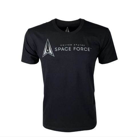 Vanguard SPACE FORCE LEISURE T-SHIRT: BLACK WITH SPACE FORCE LOGO - L
