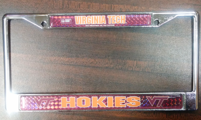 Virginia Tech Hokies Auto Tag License Plate Frame Rico Industries NCAA NOS