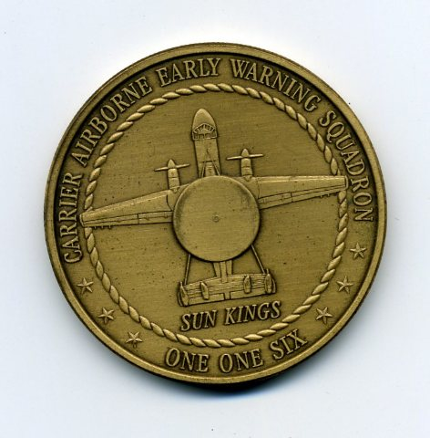 """Carrier Airborne Early Warning Squadron VAW-116 """"Sun Kings"""" Challenge Coin"""