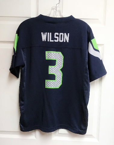 NFL Team Apparel Seattle Seahawks Blue Russell Wilson #3 Jersey Shirt Youth Sz L