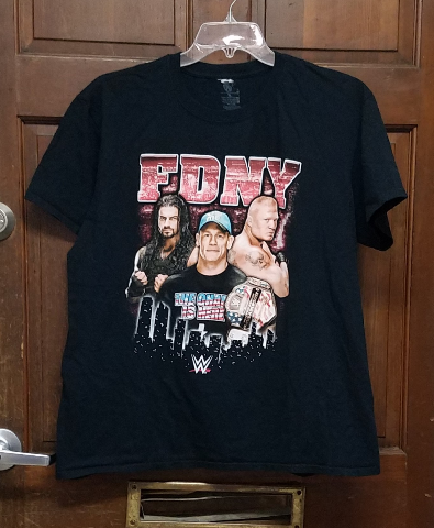 WWE FDNY 150th Summer Slam T-Shirt Size XL John Cena Dean Ambrose Brock Lesnar