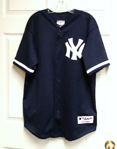 Majestic Authentic Collection Navy Blue Mesh New York Yankees Jersey Sz L
