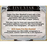 2018 Topps Five Star Baseball Hobby 2 Card BOX (1 Pack)(Sealed)