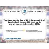 2019 Bowman Draft Picks & Prospects Baseball Super Jumbo 120 Card PACK (Sealed)(Random)