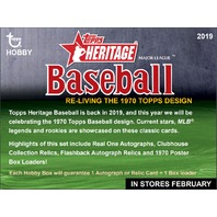 2019 Topps Heritage Baseball Hobby 12  Box Case (Factory Sealed)