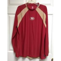 NFL San Francisco 49ers Red & Gold Long Sleeve Mesh Shirt, Size L Large Football