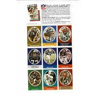 1972 Sunoco NFL Action '72 Official Stamp Sheet 9 Players Dick Butkus Rex Kern
