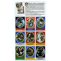 1972 Sunoco NFL Action 9-Stamp Pack Stickers Unused Bob Brown John Riggins