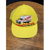 Vintage Advance Auto Parts Yellow Trucker Hat Snapback Cap NASCAR Racing