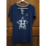 Nike Slim Fit Blue Houston Astros V-Neck Graphic T-Shirt Women's Size XL MLB