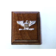 USN USCG Captain USMC Colonel Collar Device Rank Insignia Mounted On Wood
