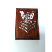 US Navy USN Petty Officer E-6 Coat Device Rank Insignia Mounted On Wood
