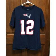 NFL Team Apparel Blue Tom Brady #12 New England Patriots T-Shirt Men's Size L
