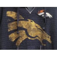 Majestic Fan Fashion Blue Denver Broncos V-Neck Pullover Hoodie Womens Sz XL NFL