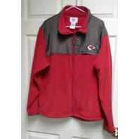 NFL Kansas City Chiefs Red & Gray Full Zip Fleece Jacket Size XL Football