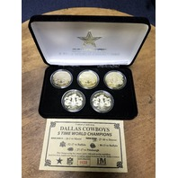 Highland Mint Dallas Cowboys Gold 5-Time Super Bowl Champions 5 Coin Set W/ COA