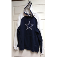 Reebok NFL Blue White Dallas Cowboys Pullover Hoodie Sweatshirt Size M Oversized