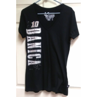 Chase Authentics NASCAR Danica Patrick #10 Black V-Neck T-Shirt Womens Sz L