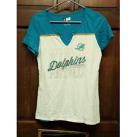 NFL Team Apparel Miami Dolphins White & Teal Blue V-Neck T-Shirt Women's Size L