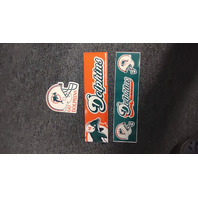 Lot of 3 MIAMI DOLPHINS Stickers Bumper Vehicle Teal Orange White Helmet