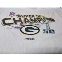 Reebok White Green Bay Packers Super Bowl XLV 45 Champions T-Shirt Size XL